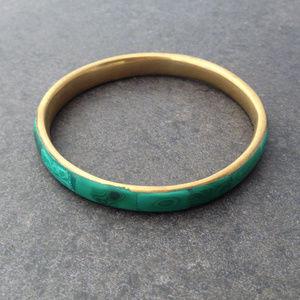 Vintage Brass & Malachite Bangle Bracelet